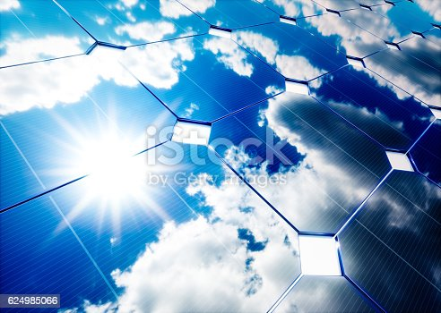 istock Solar energy concept. Blue sky reflection on photovoltaic panel. 624985066