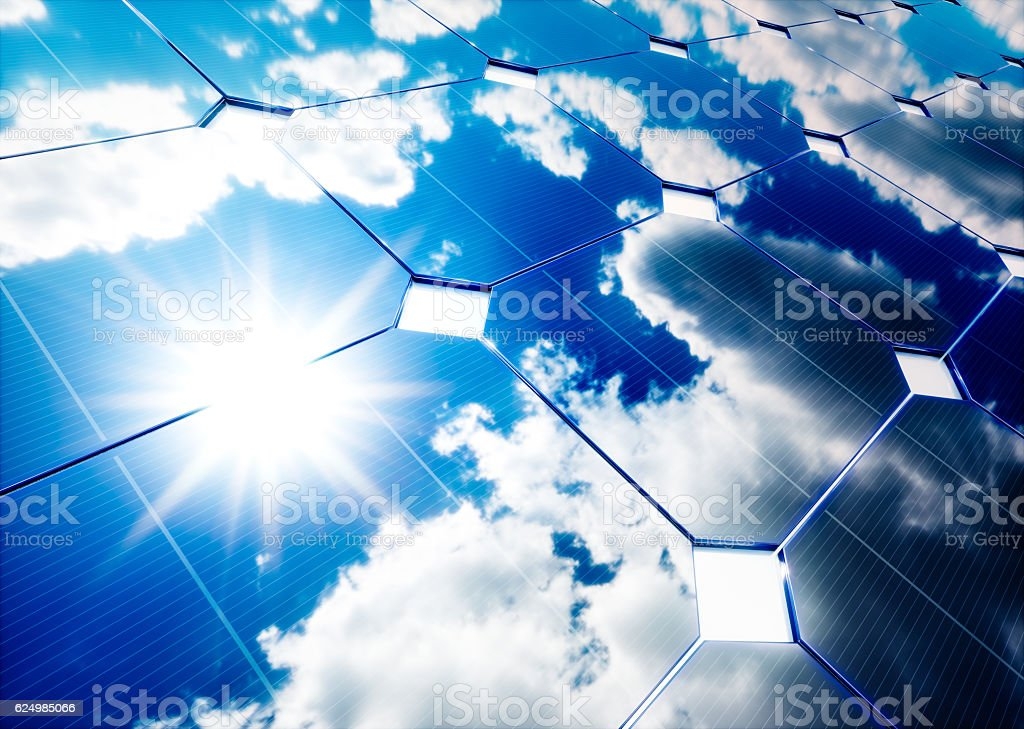 Solar energy concept. Blue sky reflection on photovoltaic panel. stock photo