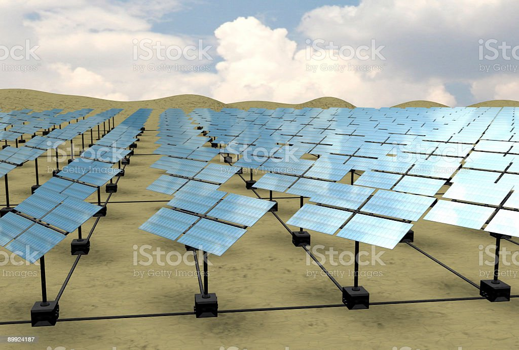 Solar Energy Desert Array (3D) royalty-free stock photo