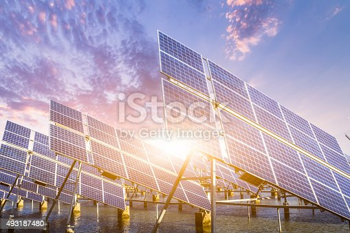 solar energy panels and wind turbines at shanghai china..