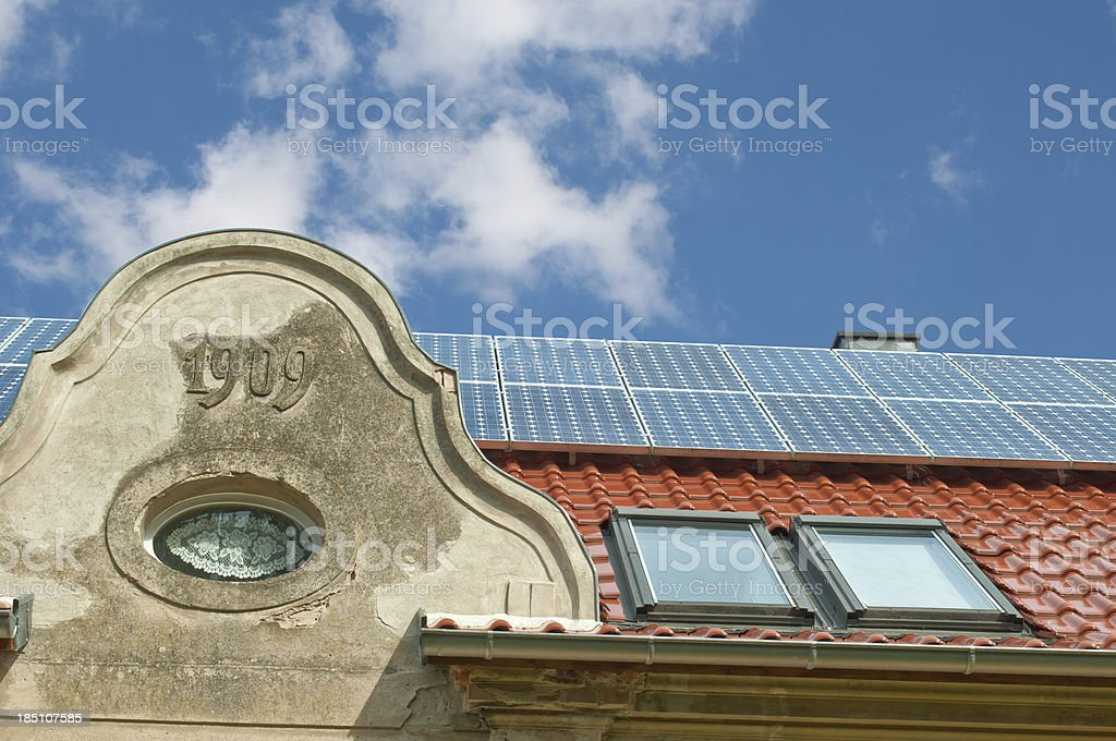 Solar Energy Photovoltaic on the roof stock photo
