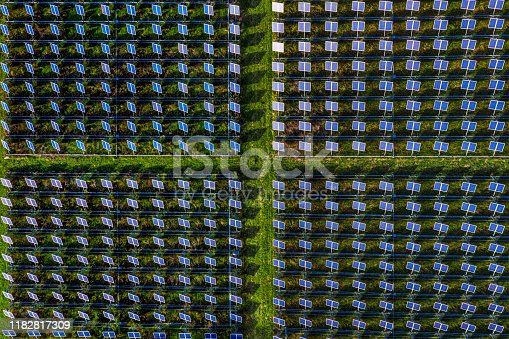 1170098138istockphoto Solar energy station in countryside aerial view 1182817309