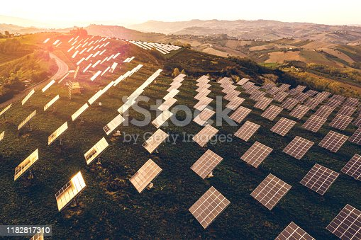 1170098138istockphoto Solar energy station in countryside aerial view 1182817310