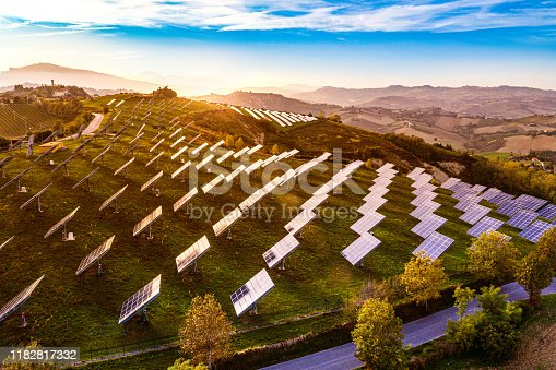 1170098138istockphoto Solar energy station in countryside aerial view 1182817332