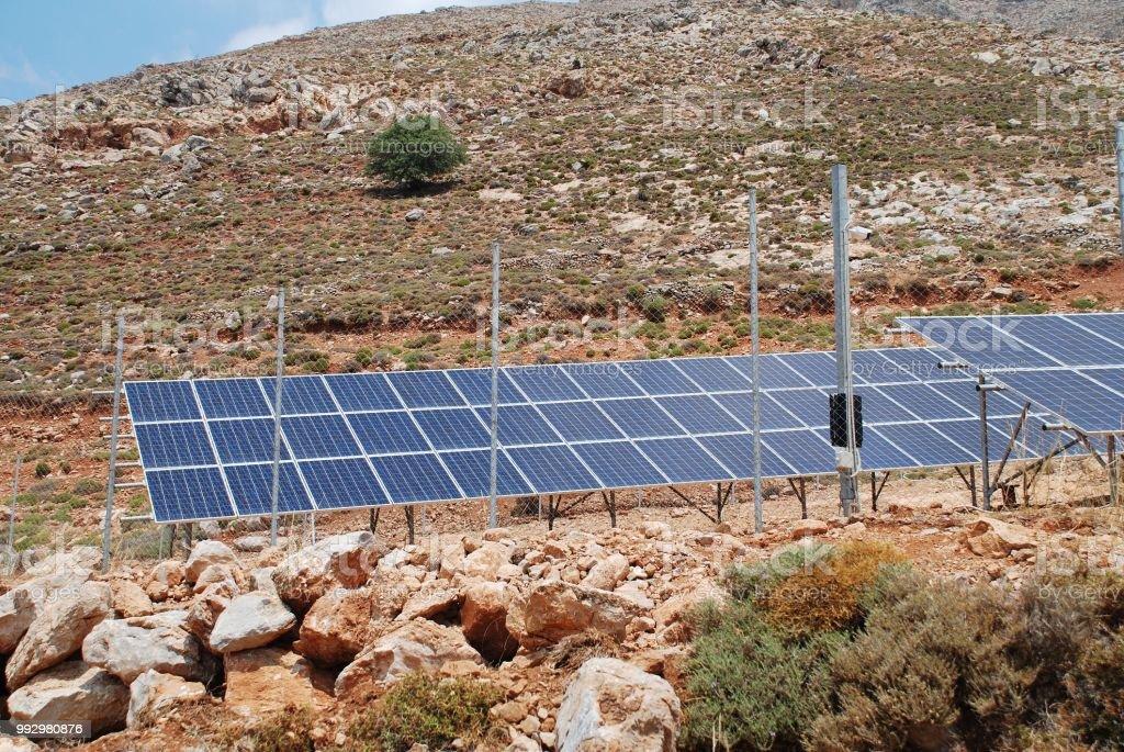 Solar energy station, Tilos stock photo