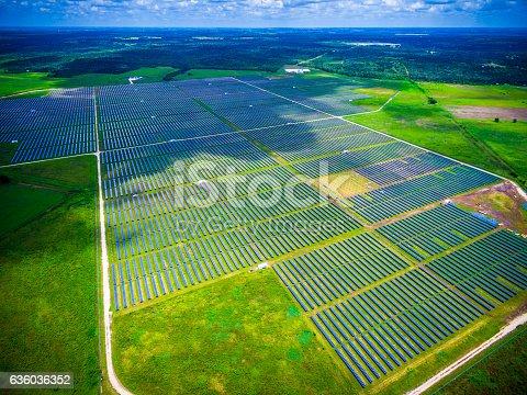 istock Solar Energy Summer Sunshine Solar Panel Power Plant 636036352