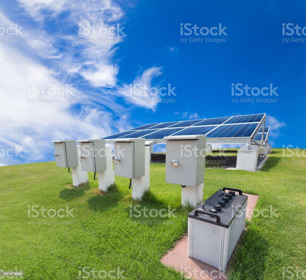 Solar energy system against sunny sky stock photo
