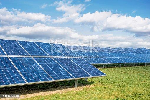 istock Solar Farm. Green Fields Blue Sky, Sustainable Renewable Energy. 512629318