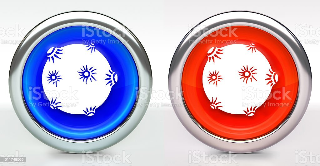 Solar Flare Icon on Button with Metallic Rim stock photo