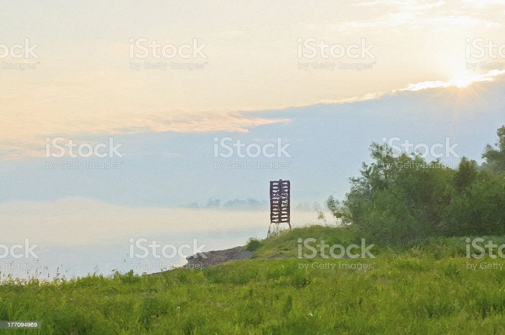 Solar foggy morning on river bank Yenisei royalty-free stock photo