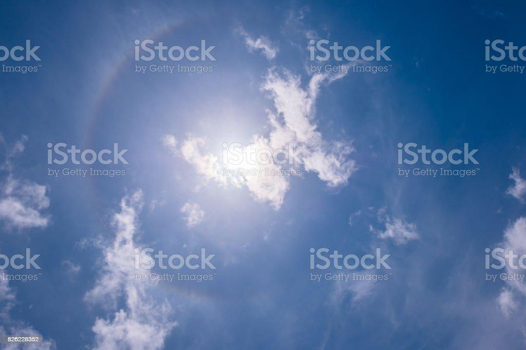 Solar halo of clouds Halo (optical phenomenon) stock photo