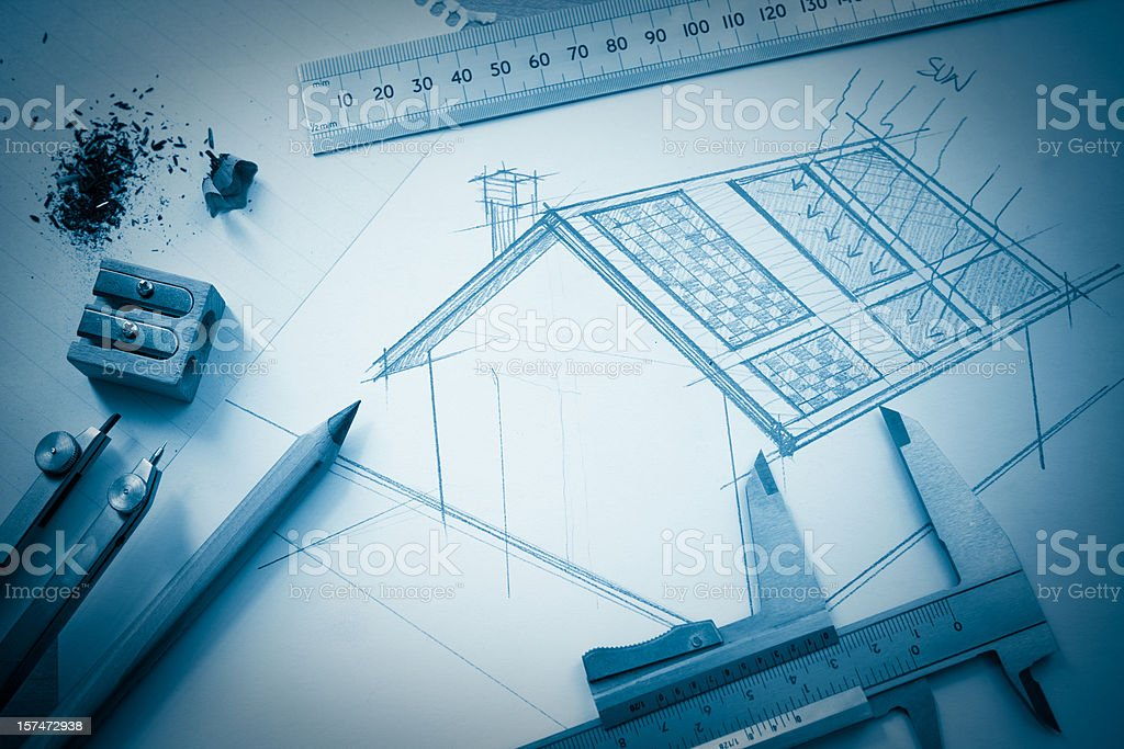Solar house design royalty-free stock photo