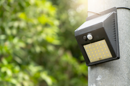 Solar lamp in the daytime. Renewable ecological energy in home life