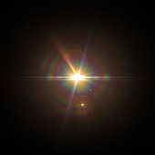 istock Solar Lens flare light special effect on Black background 1086164306