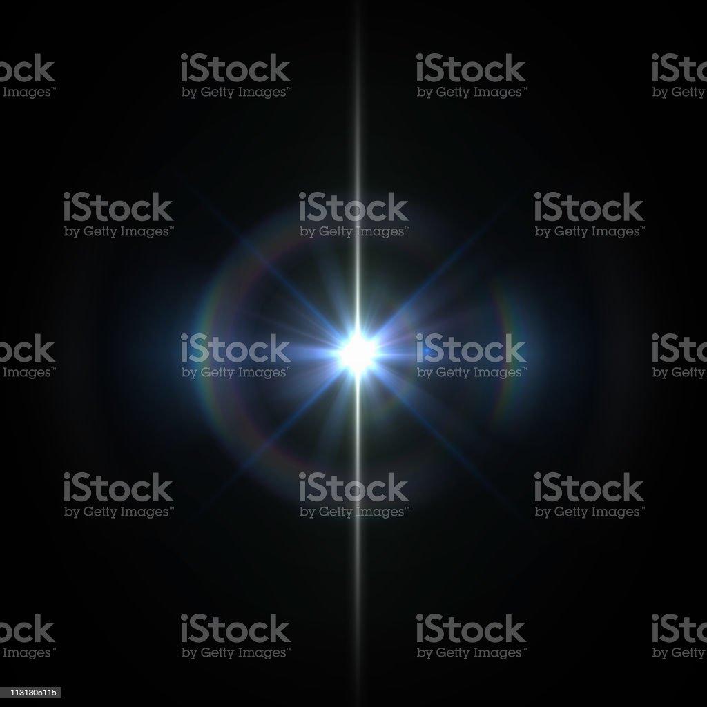 Lentille solaire FLARE lumière effet spécial sur fond noir - Photo de Abstrait libre de droits