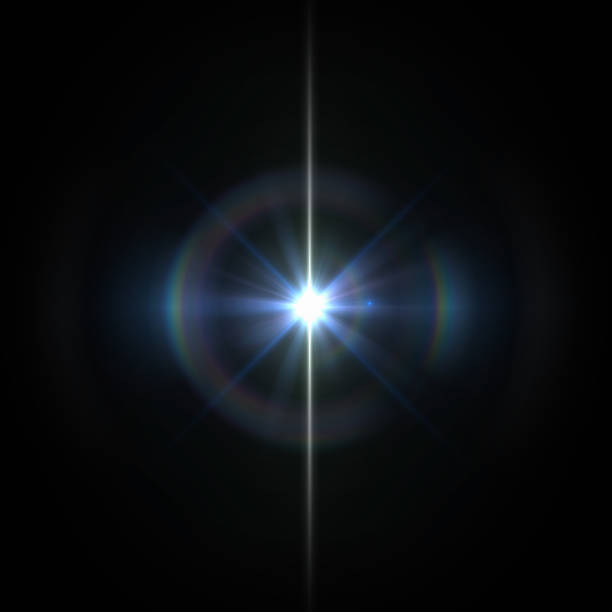 solar lens flare light special effect on black background - riflesso foto e immagini stock