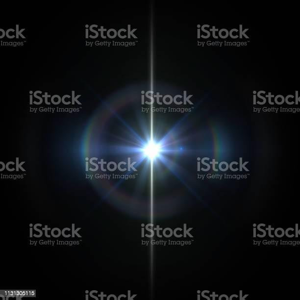 Photo of Solar Lens flare light special effect on Black background