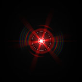Solar Lens flare Red light special effect Black background