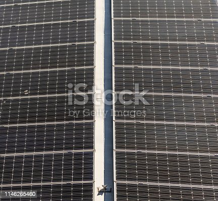 istock Solar modules for generating electric current from the light of the sun, abstract effect 1146265460