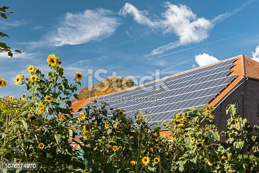 Solar panel on red roof under blue sky. Tall blooming sunflowers in foreground. Sande, Friesland - district, Lower Saxony, Germany, Europe.