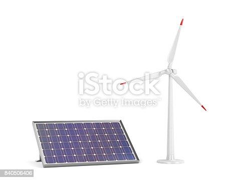 istock Solar panel and wind turbine 840506406