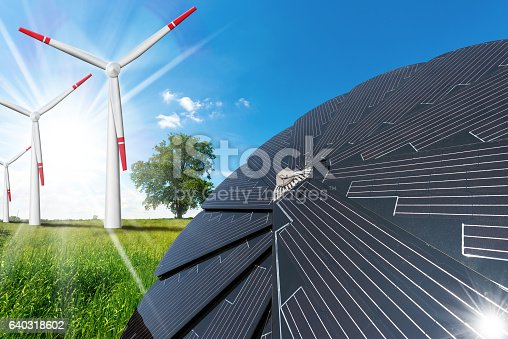 480763537 istock photo Solar Panel and Wind Turbines 640318602
