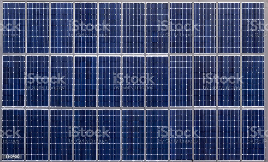 Solar panel array stock photo