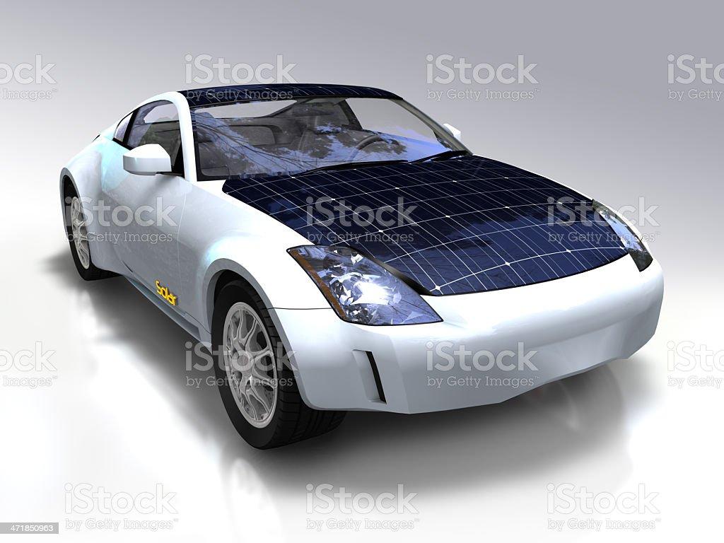 Solar panel car stock photo