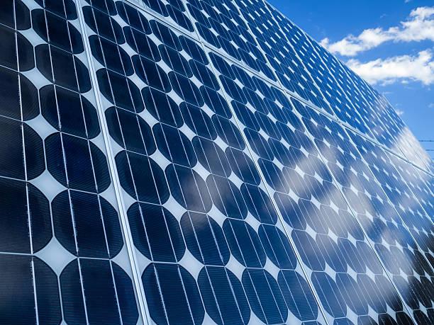 Solar panel cells blue sky copy space. stock photo