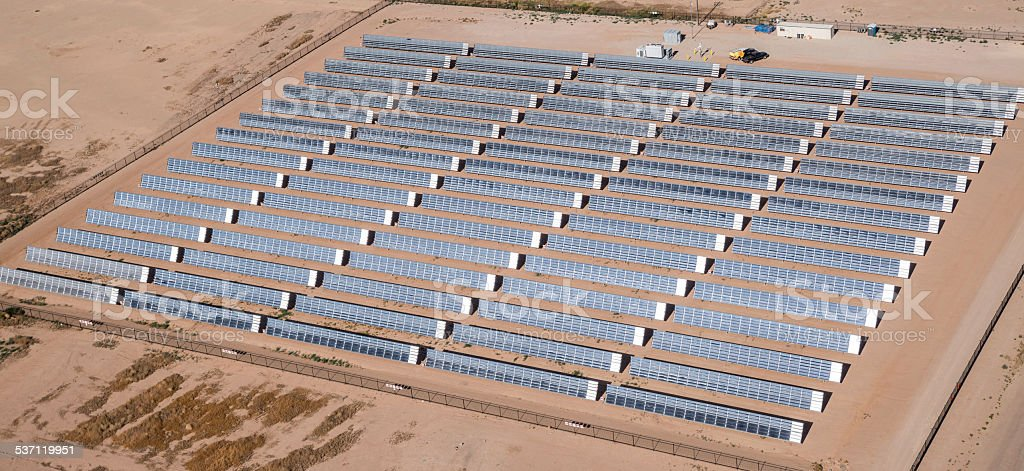 Solar panel collector array ASU Polytechnic campus aerial Phoenix Arizona stock photo