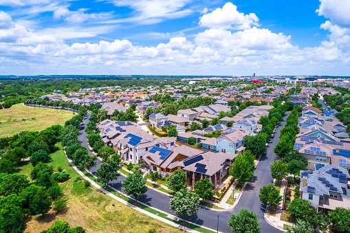 Solar Panel Community in Austin Texas Aerial drone view above Mueller District