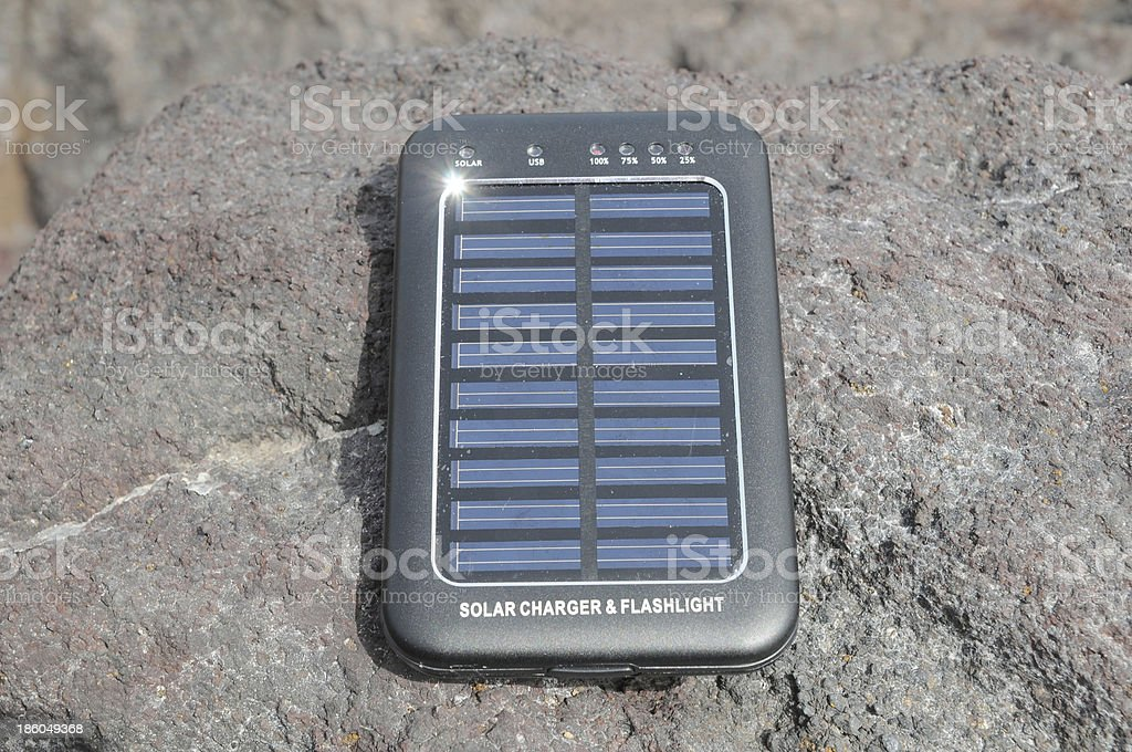 Solar Panel - energy on the beach royalty-free stock photo