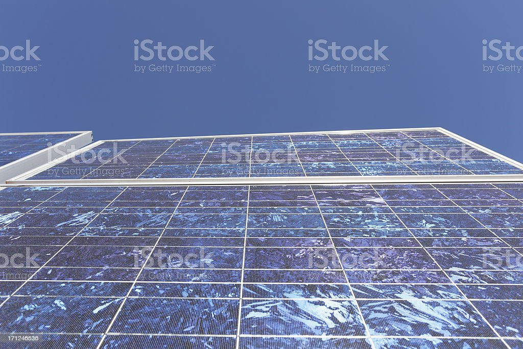 solar panel front view against perfect blue sky royalty-free stock photo