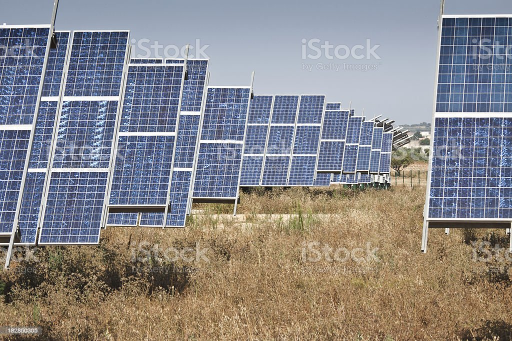 Solar panel groud station stock photo
