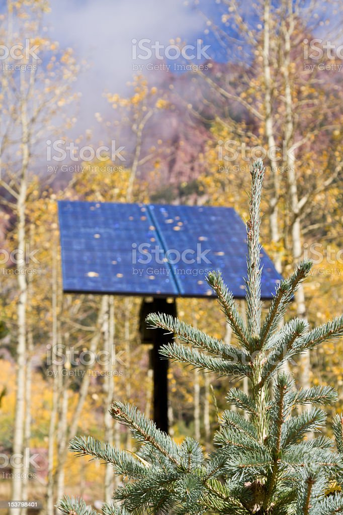 Solar Panel in Colorado Forest royalty-free stock photo