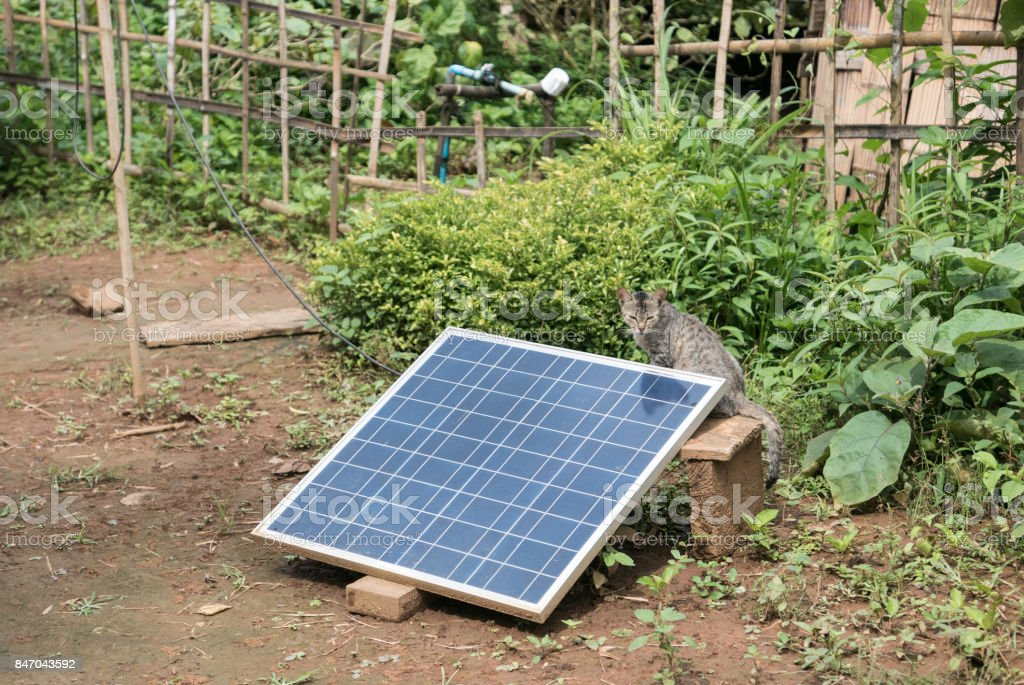 Solar Panel in Rural Area, Shan State, Myanmar (Burma) stock photo