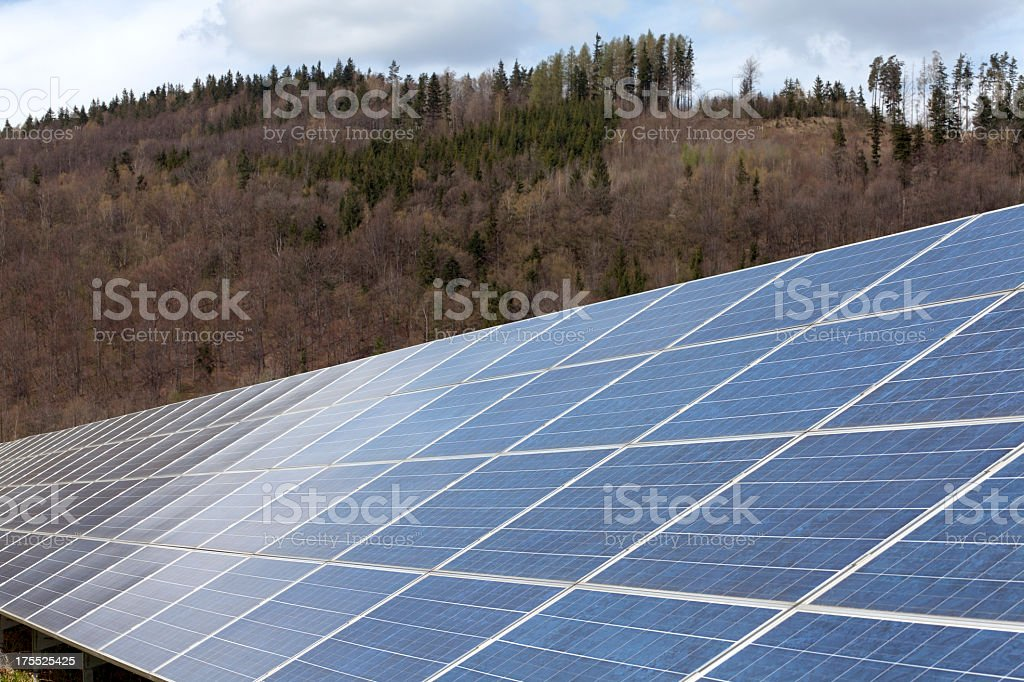 Solar panel in the nature stock photo
