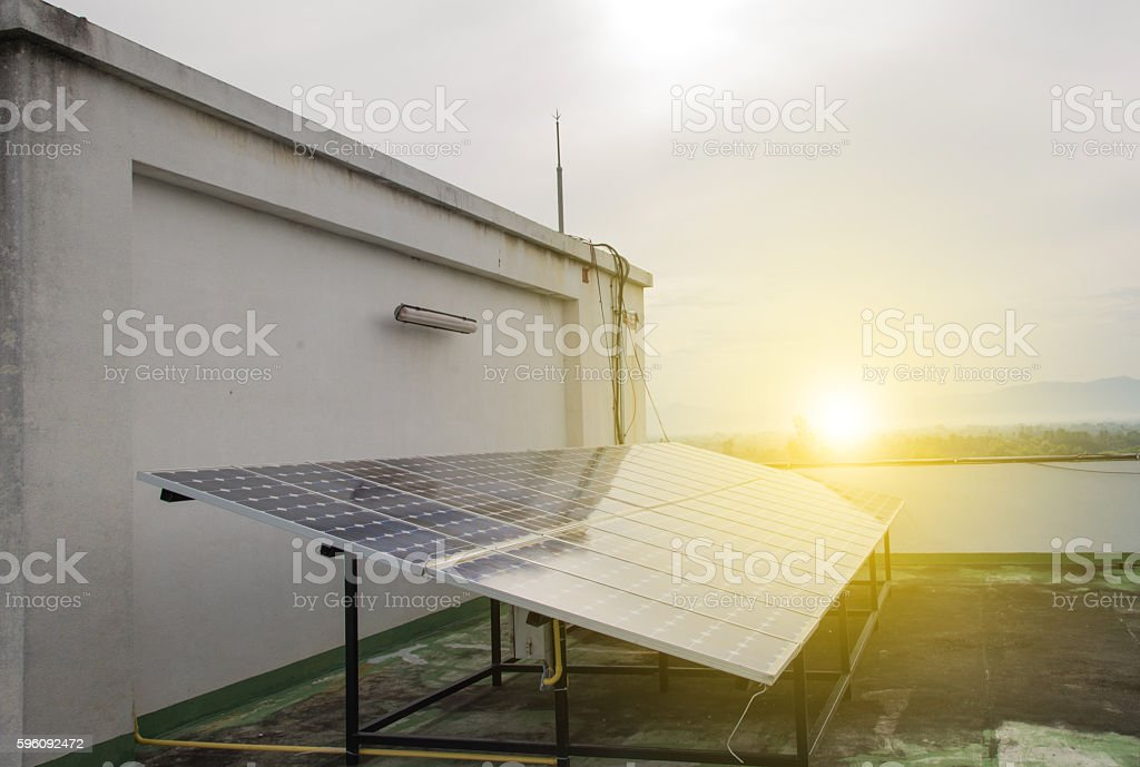 Solar Panel installation for renewable energy. royalty-free stock photo