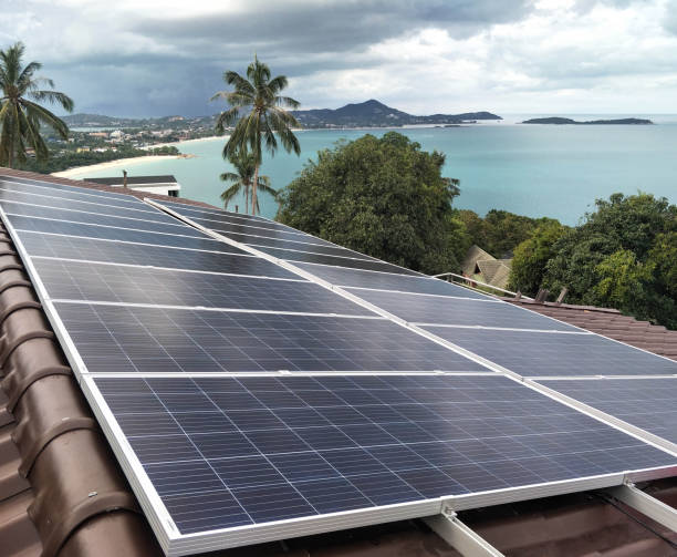 Solar panel   installation    on the roof with nice view stock photo