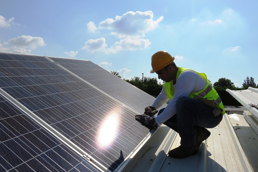 Solar Panel Installation Stock Photo - Download Image Now