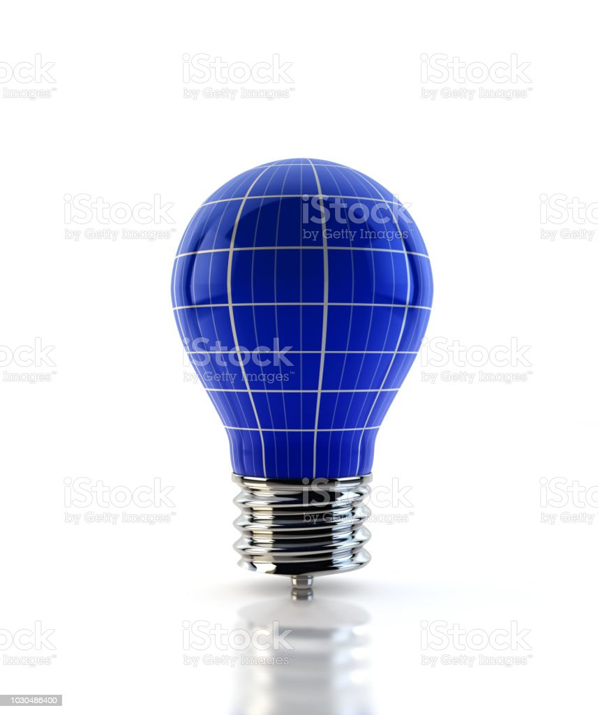 Solar Panel Light Bulb Concept On White Stock Photo - Download Image Now