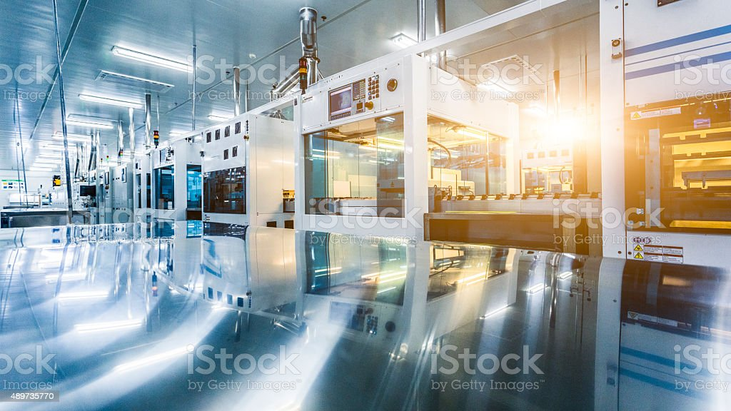 solar panel manufacturing stock photo