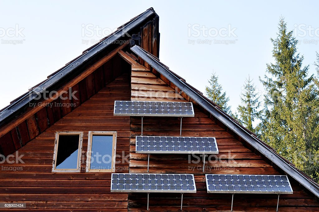 Solar panel on a lodge stock photo