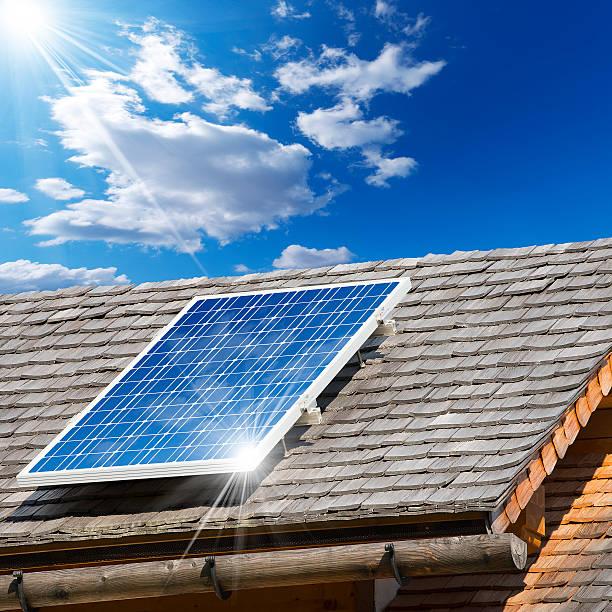 solar panel on a old roof - solar panel bildbanksfoton och bilder