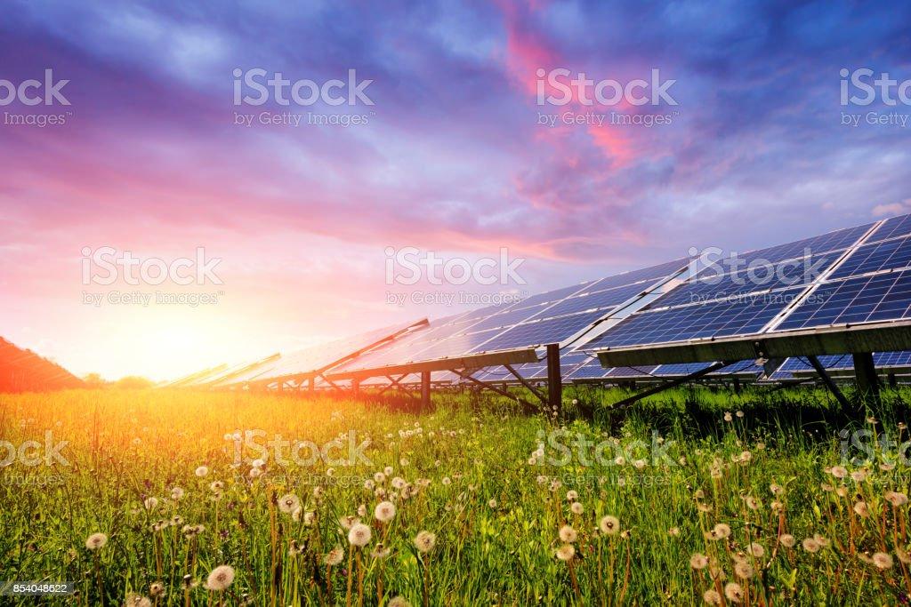 Solar panel on blue sky background stock photo