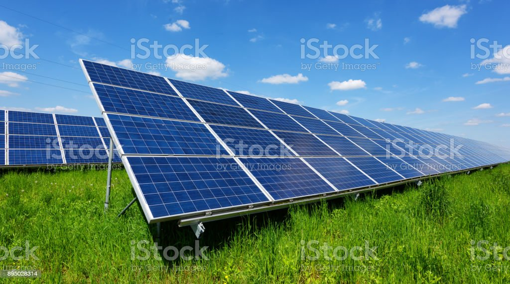 Solar panel on blue sky background stock photo