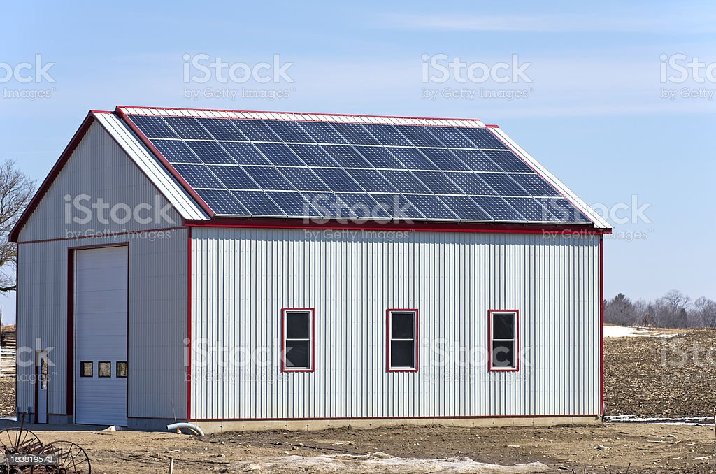 Solar Panel on Building Roof royalty-free stock photo