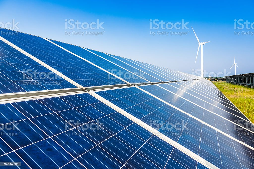 Solar Panel On Grassy Field stock photo