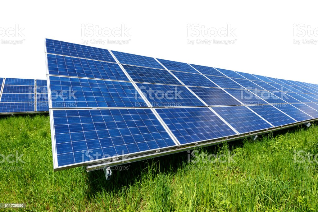 Solar panel on green grass isolated on white background stock photo