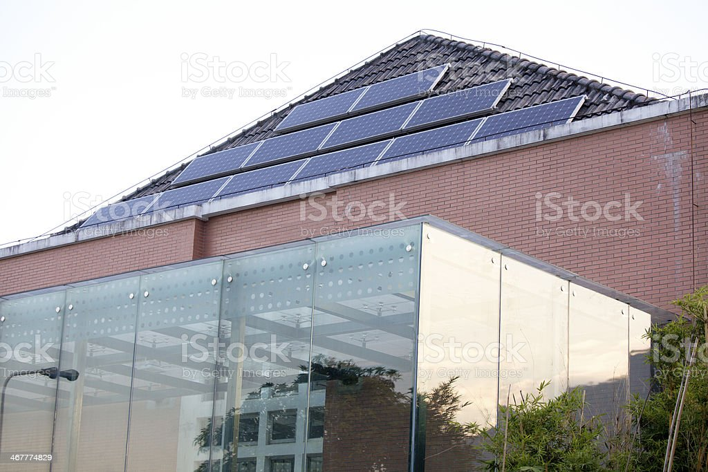 Solar Panel on Roof of Green House royalty-free stock photo